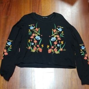 Zara puff sleeve embroidered sweater